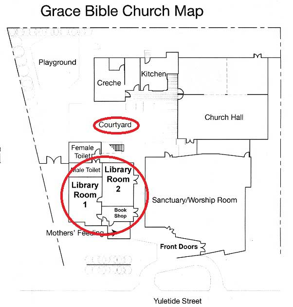 Map of church showing library locations